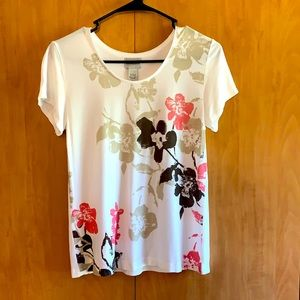 Chico's 0 white with pink brown flowers shirt top